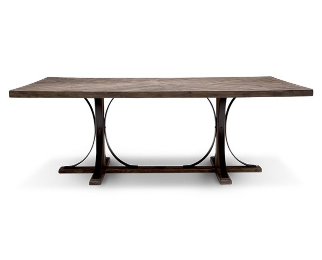 2018 Magnolia Home Shop Floor Dining Tables With Iron Trestle Pertaining To Magnolia Home Iron Trestle Dining Table – Furniture Row (View 3 of 20)