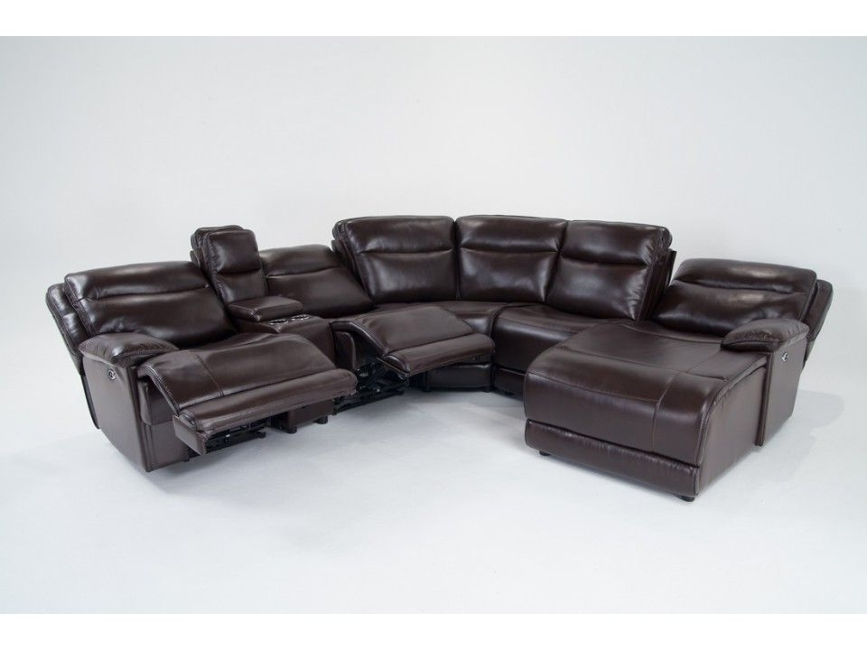 2018 Marcus Chocolate 6 Piece Sectionals With Power Headrest And Usb Inside Supernova Power Reclining 6 Piece Right Arm Facing Sectional (View 3 of 15)