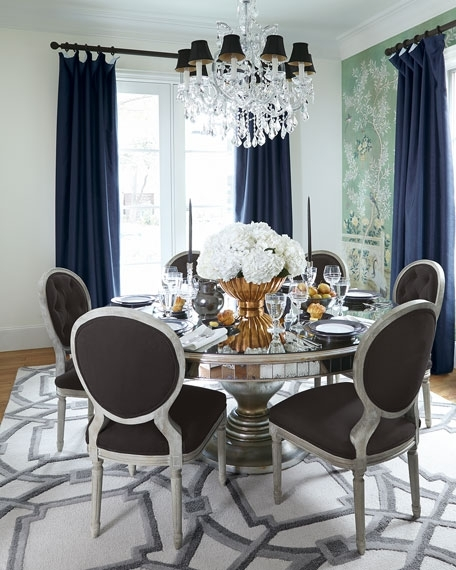 2018 Mirrored Dining Tables For John Richard Collection Lisandra Antiqued Mirrored Round Dining Table (View 1 of 20)