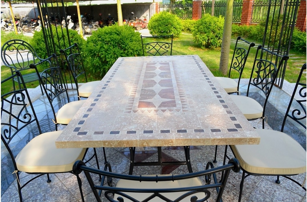 2018 Outdoor Garden 160 200 240Cm Mosaic Natural Stone Marble Dining Regarding Garden Dining Tables (View 6 of 20)