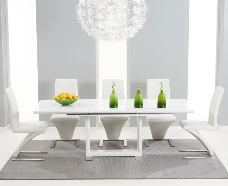 2018 Oval White High Gloss Dining Tables Within Bianco 160Cm White High Gloss Extending Dining Table With Hampstead (Gallery 12 of 20)