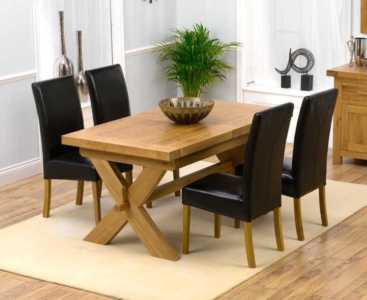 2018 Padova Solid Oak 160Cm Extending Dining Set With 4 Gatsby Brown Chairs Pertaining To Extending Dining Tables And 4 Chairs (Gallery 9 of 20)
