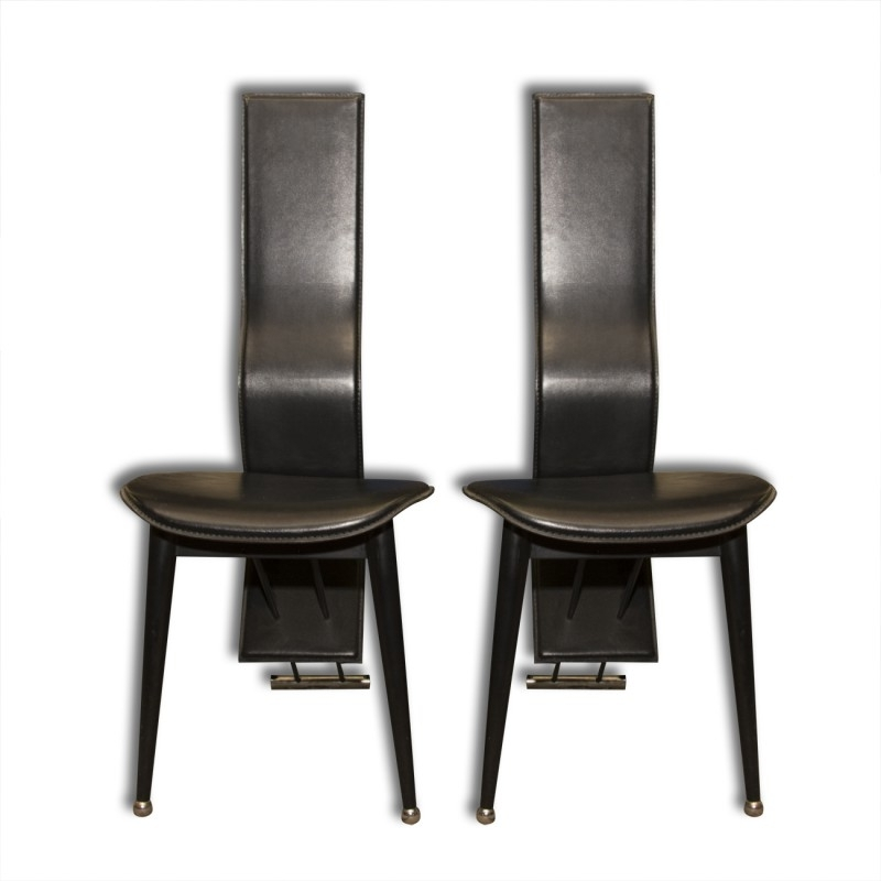 2018 Pair Of Italian Mid Century High Back Leather Dining Chairs – 1980S With Regard To High Back Leather Dining Chairs (Gallery 8 of 20)