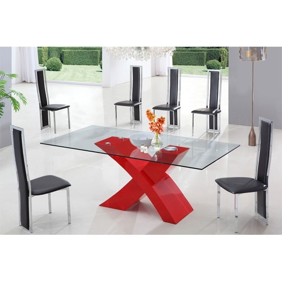 2018 Red Gloss Dining Tables Throughout X Glass Dining Table In High Gloss Red With 6 Dining Chairs (View 7 of 20)
