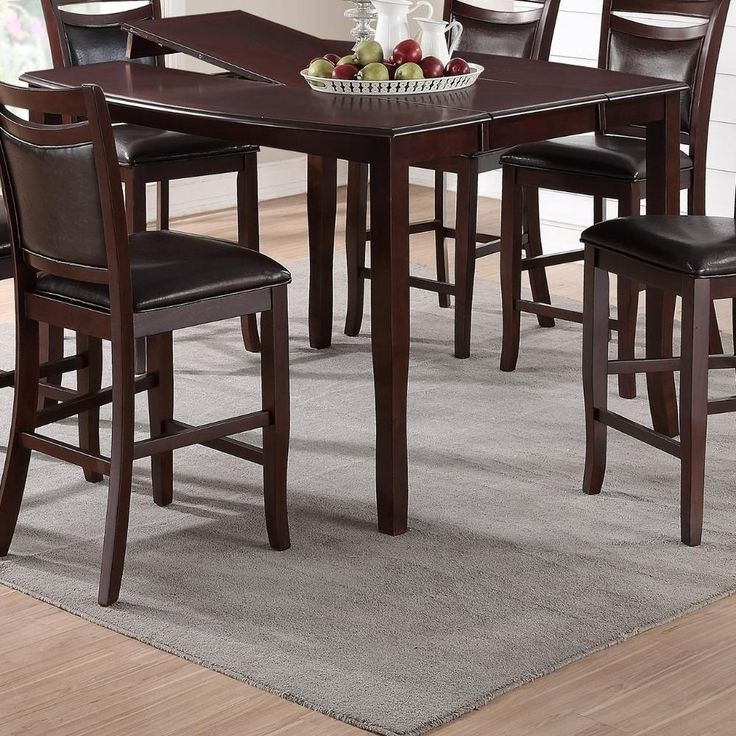 2018 Rocco 8 Piece Extension Counter Sets Pertaining To Anticardium Wood Counter Height Extension Table Brown In (View 11 of 20)