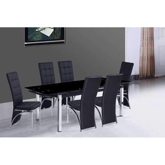 2018 Sarah Extending Glass Dining Table With 6 Ravenna Dining For Extendable Glass Dining Tables And 6 Chairs (Gallery 2 of 20)