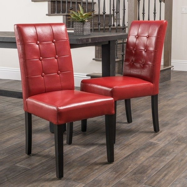 2018 Shop Roland Red Bonded Leather Dining Chairschristopher Knight With Regard To Red Leather Dining Chairs (View 5 of 20)