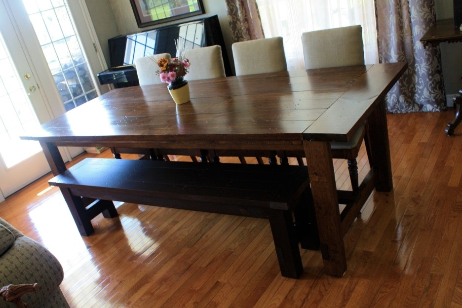 2018 Small Dark Wood Dining Tables Inside Dark Brown Stained Oak Wood Dining Table With Black Bench Combined (View 1 of 20)