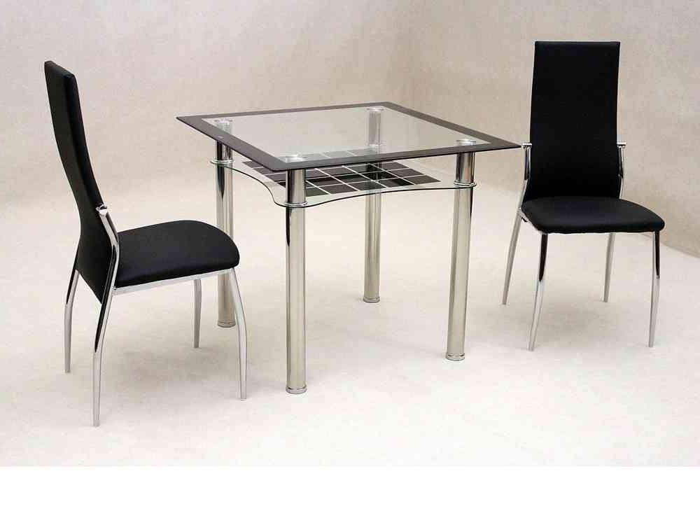2018 Small Dining Tables For 2 In Small Square Glass Dining Table And 2 Chairs – Homegenies (View 2 of 20)