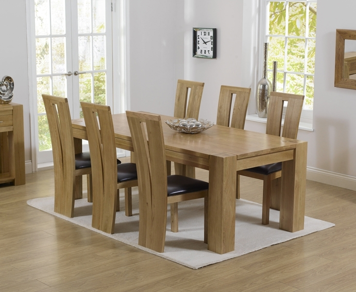 2018 Thames 220Cm Oak Dining Table With Montreal Chairs Inside Oak Dining Tables And Chairs (View 1 of 20)