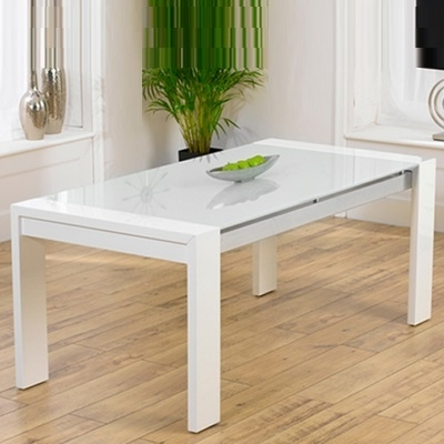 2018 White Gloss And Glass Dining Tables Within Selina White Gloss And Glass Dining Table – Robson Furniture (View 2 of 20)