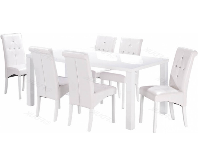 2018 White High Gloss Dining Tables 6 Chairs In Lpd Monroe (View 20 of 20)