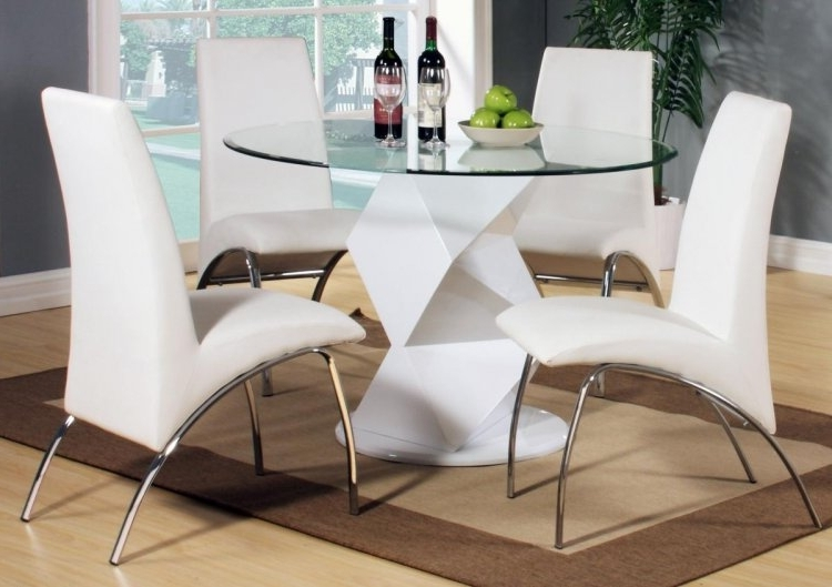 2018 White High Gloss Dining Tables And 4 Chairs In Rowley White High Gloss Dining Set With 4 Chairs (View 1 of 20)