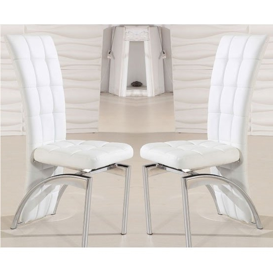 2018 White Leather Dining Room Chairs Regarding Ravenna Dining Chair In White Faux Leather In A Pair (View 6 of 20)