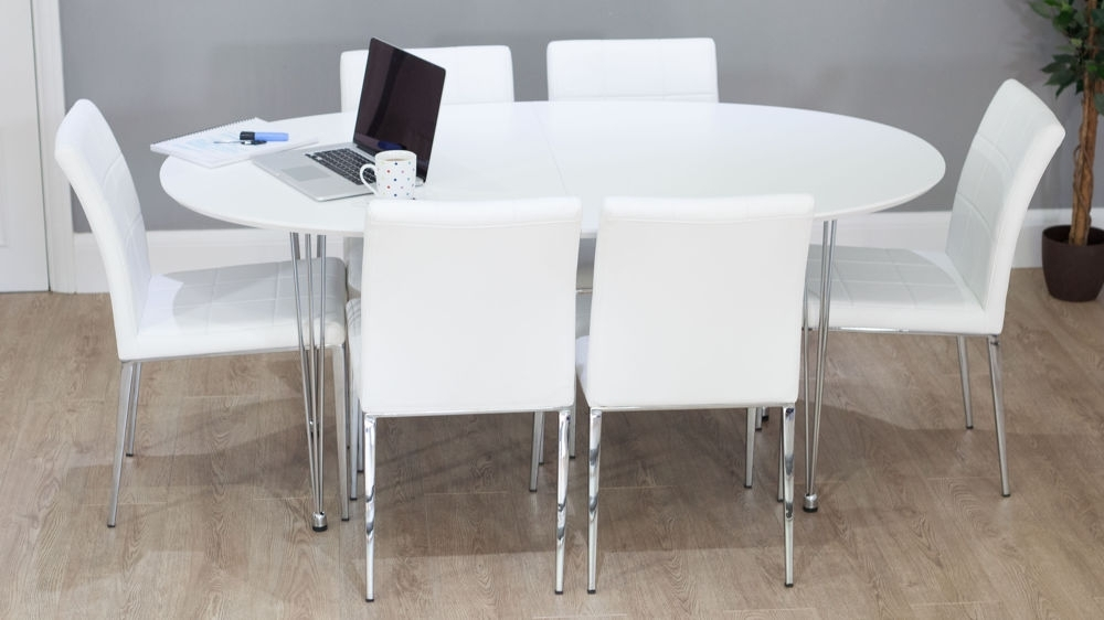 2018 White Oval Extending Dining Table (View 7 of 20)
