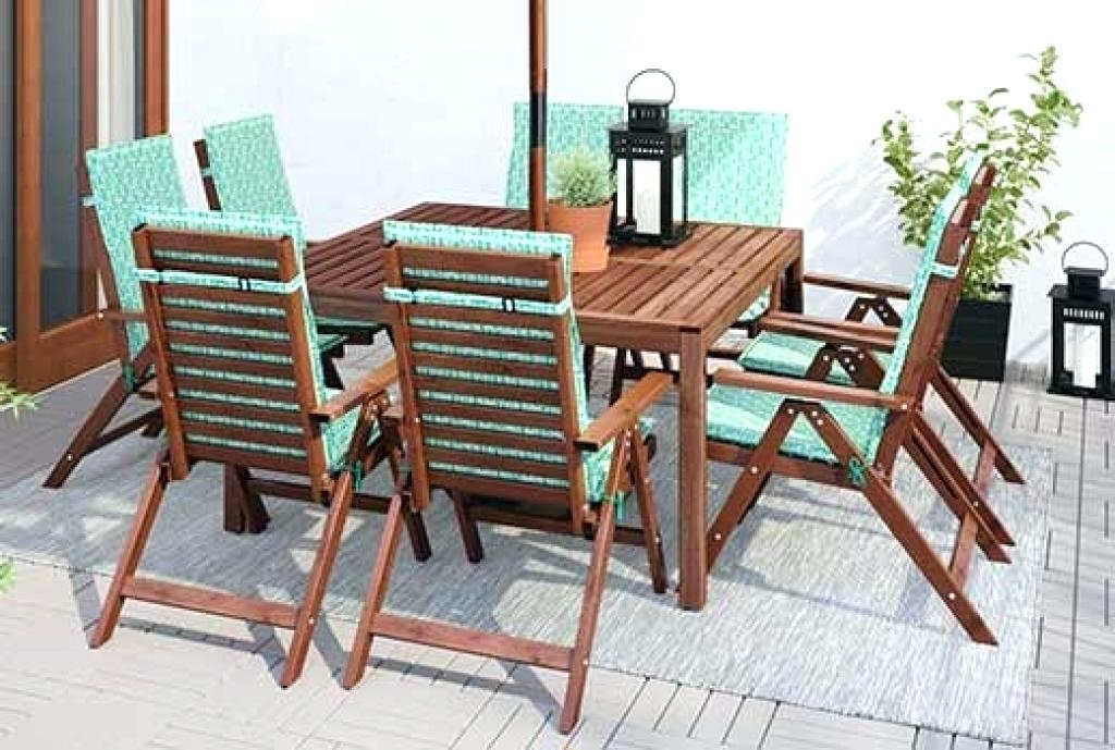 2018 Wooden Patio Dining Table 7 Piece Teak All Weather Wicker Patio Regarding Outdoor Dining Table And Chairs Sets (View 17 of 20)