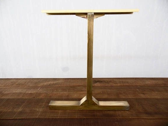 """28"""" Besik – Single Bar Table Legs, Brass, 24"""" Width Base, Height 26 Intended For Recent Washed Old Oak & Waxed Black Legs Bar Tables (View 3 of 20)"""