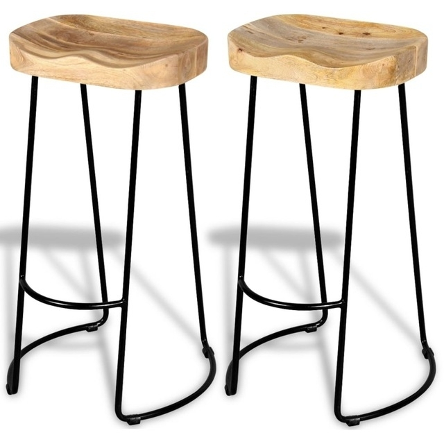 2pcs Industrial Style Gavin Bar Stools Solid Wood Top Dining Chair With Regard To Widely Used Gavin Dining Tables (View 17 of 20)