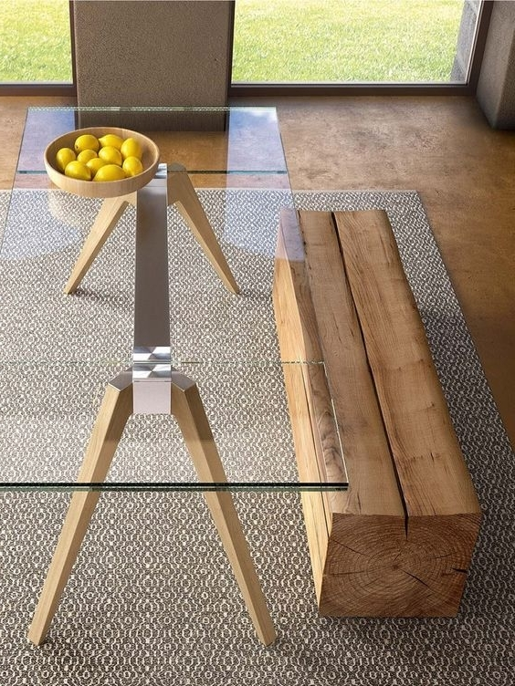 30 Ways To Incorporate A Glass Dining Table Into Your Interior Pertaining To Preferred Glass Dining Tables With Wooden Legs (View 2 of 20)