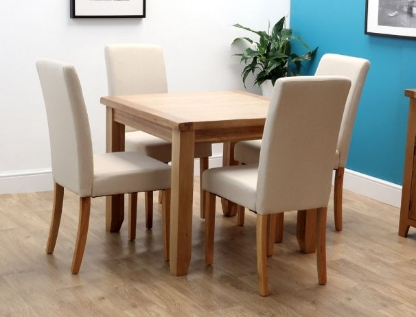 4 Seat Dining Tables Intended For Preferred Rustic Oak Square Dining Table With 4 Chairs (Gallery 8 of 20)