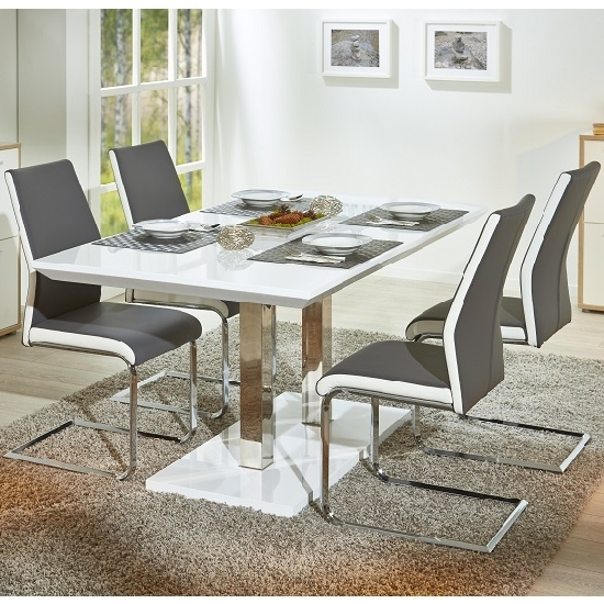 4 Seater Extendable Dining Tables With Regard To Best And Newest Edmonton Extendable Dining Table White Gloss 4 Marine Grey (Gallery 14 of 20)