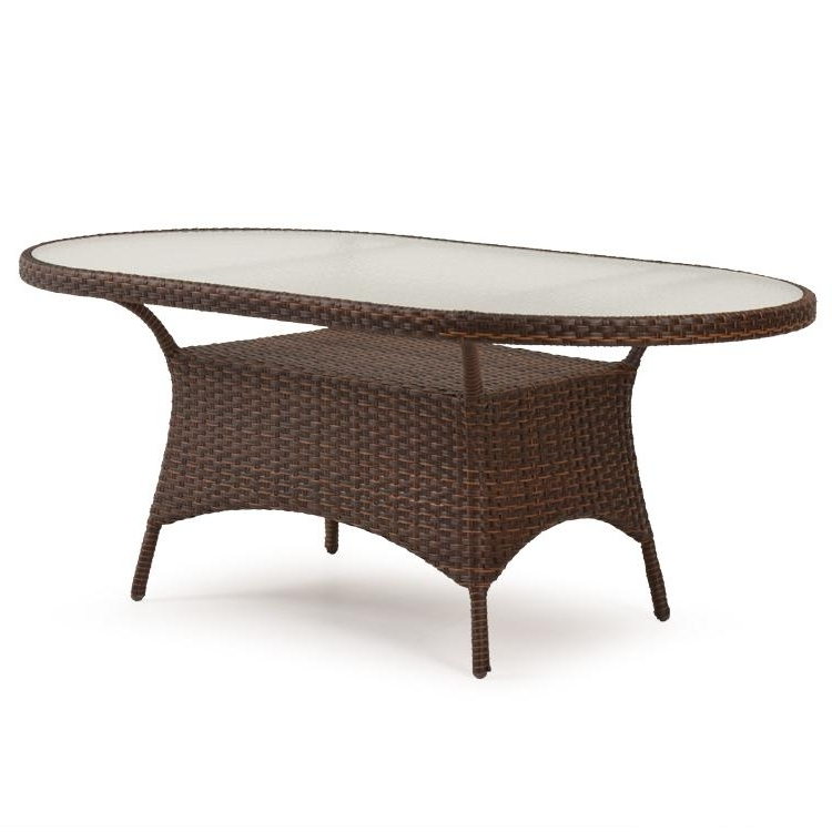 "40"" X 70"" Oval Dining Table W/ Glass Toppalm Springs Rattan Pertaining To Most Recent Wicker And Glass Dining Tables (Gallery 12 of 20)"