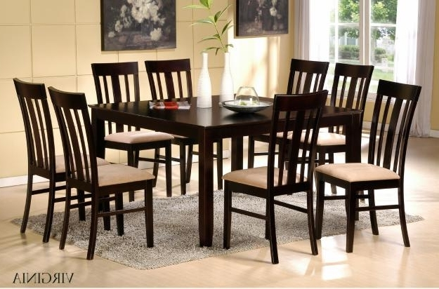 46 8 Chair Dining Table Set Black Glass Room And For Idea 2 Throughout Famous Dining Tables And 8 Chairs Sets (View 5 of 20)