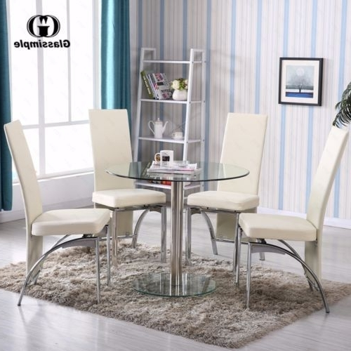 5 Piece Dining Table Set Round Glass 4 Chairs Kitchen Room Breakfast For Fashionable Grady 5 Piece Round Dining Sets (View 2 of 20)