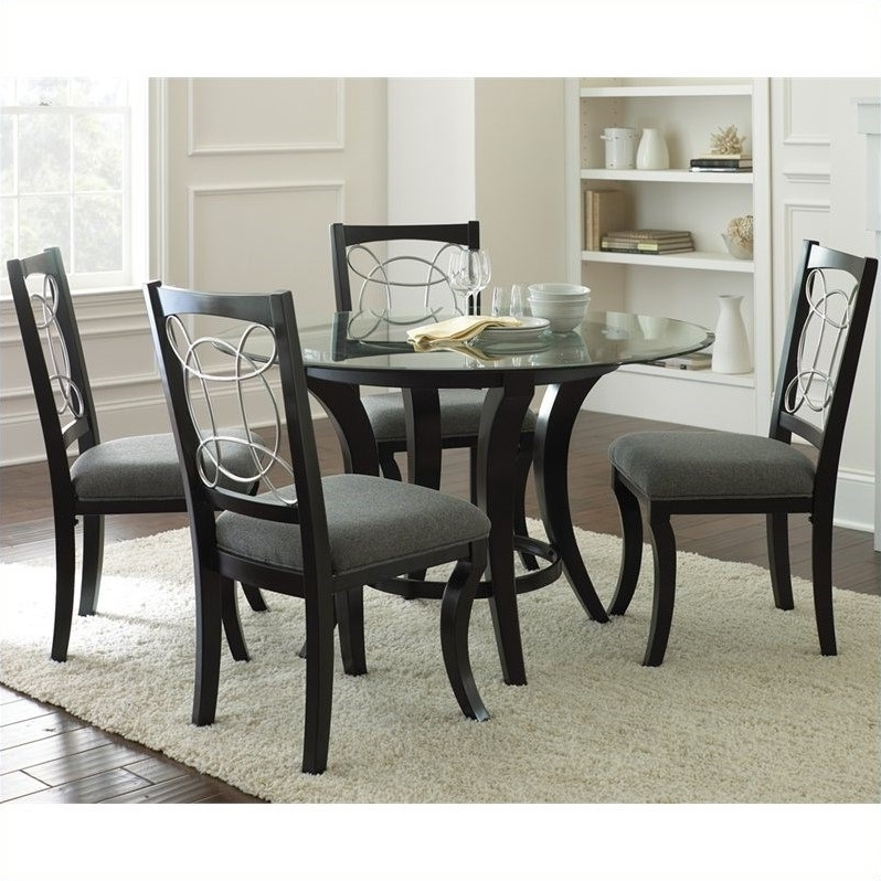 55 Black Dinner Table Set, Regal Black Dining Table Set Throughout Favorite Macie 5 Piece Round Dining Sets (Gallery 12 of 20)