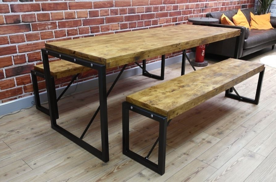 5Ft Industrial Reclaimed Wood Steel Metal Kitchen Dining Table 2 With Regard To Favorite Dining Tables And 2 Benches (Gallery 19 of 20)