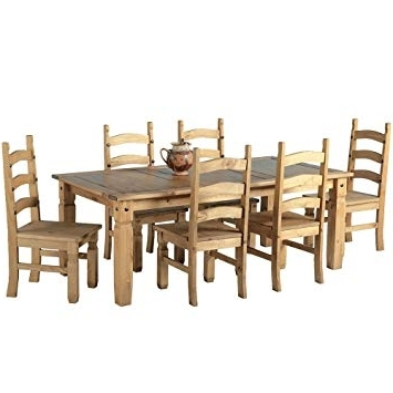 "6 Chair Dining Table Sets Inside Well Known Mexican Corona 6Ft Pine 70"" Dining Table Set / 6 Chairs Antique (View 7 of 20)"
