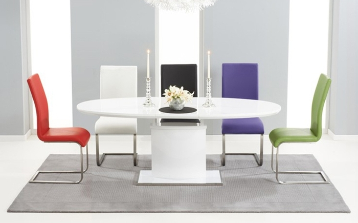 6. Oval And Round High Gloss Dining Table Sets With Regard To 2018 Oval White High Gloss Dining Tables (Gallery 3 of 20)