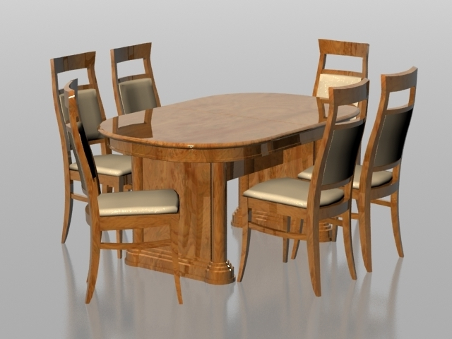 6 Seat Dining Tables And Chairs Regarding Well Liked 6 Seater Dining Set 3d Model 3dsmax Files Free Download – Modeling (View 5 of 20)