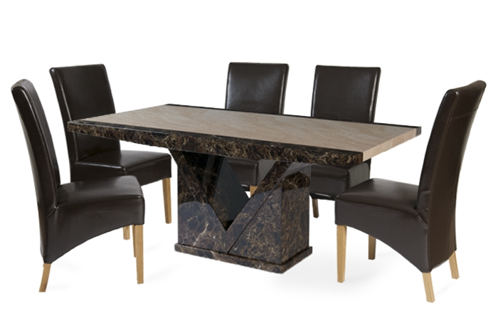 6 Seat Dining Tables With Well Liked Tenore 180Cm Marble Effect Dining Table With 6 Cannes Brown Chairs (Gallery 19 of 20)