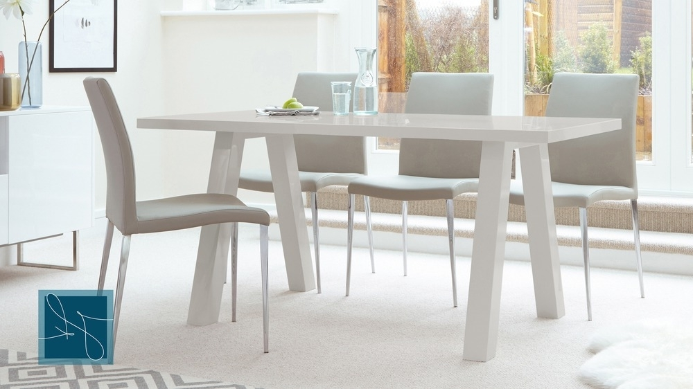6 Seater Dining Tables Regarding Widely Used Contemporary 6 Seater Grey Gloss Dining Table (View 10 of 20)