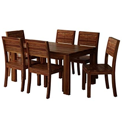 6 Seater Dining Tables With Recent Furny Taj 6 Seater Dining Table (Honey Oak Polish): Amazon.in: Home (Gallery 12 of 20)
