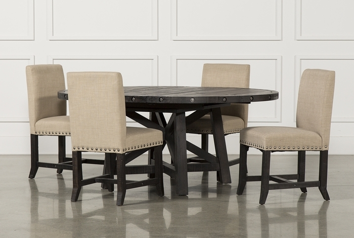 7. Jaxon 5 Piece Round Dining Set W Upholstered Chairs 360 Within Most Recently Released Jaxon 7 Piece Rectangle Dining Sets With Wood Chairs (Gallery 4 of 20)
