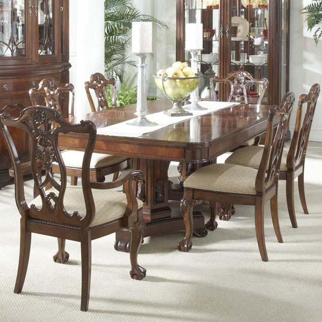 7 Piece Dining Room Set With Elegant Double Pedestal Table And Ball For Favorite Parquet 7 Piece Dining Sets (View 1 of 20)