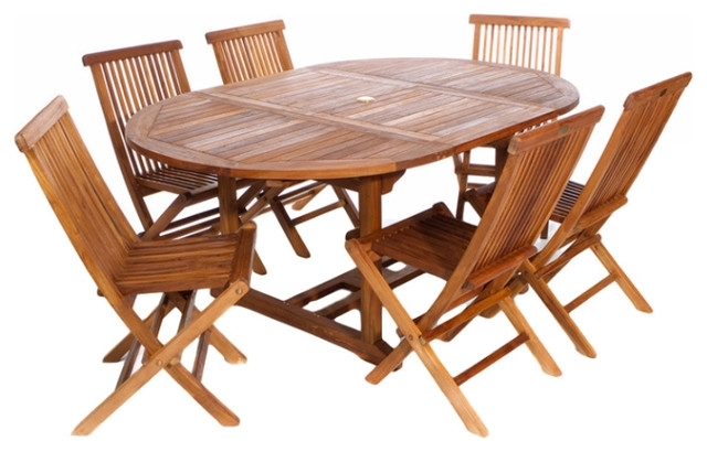 7 Piece Set Teak Oval Extension Table Folding Chair Set Within Widely Used Oval Folding Dining Tables (View 1 of 20)