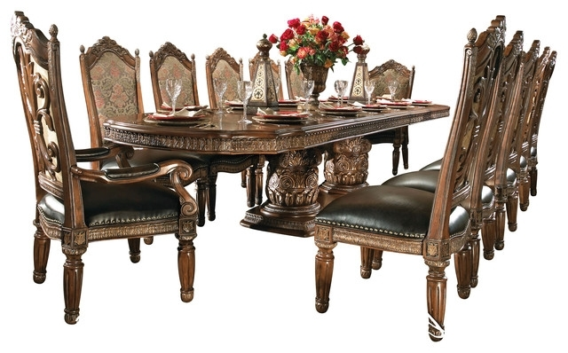7 Piece Villa Valencia Rectangular Dining Room Set – Victorian Intended For Fashionable Valencia 5 Piece Round Dining Sets With Uph Seat Side Chairs (Gallery 14 of 20)