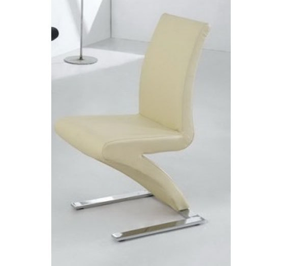 8 Dining Chairs Mix Leather Chrome In Cream – Homegenies Inside Well Known Cream Faux Leather Dining Chairs (Gallery 8 of 20)