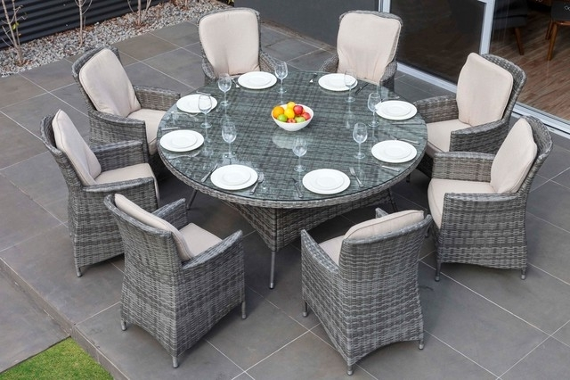 8 Seat Outdoor Dining Tables For Most Current Moda Furnishings Outdoor Wicker Furniture Nassau 8 Seat Round Dining (Gallery 17 of 20)