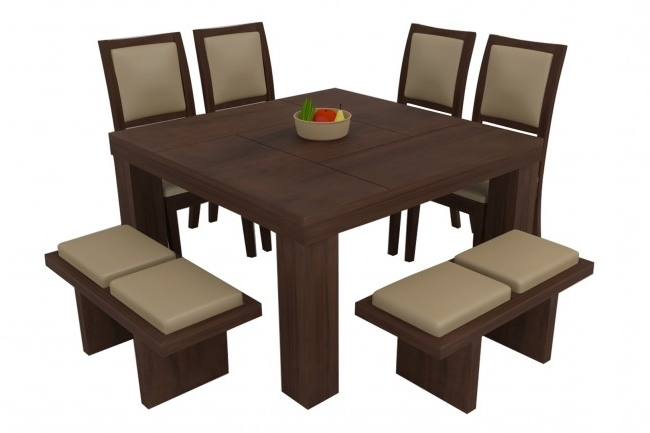 8 Seater Black Dining Tables Pertaining To Latest Novara Walnut Dining Table Set 8 Seater (Teak Wood) – Adona Adona Woods (View 2 of 20)