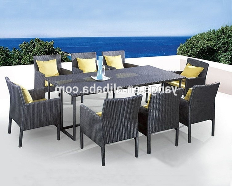 8 Seater Italian Rattan Dining Table Chairs Garden Furniture – Buy Pertaining To Most Recent 8 Seat Outdoor Dining Tables (View 2 of 20)