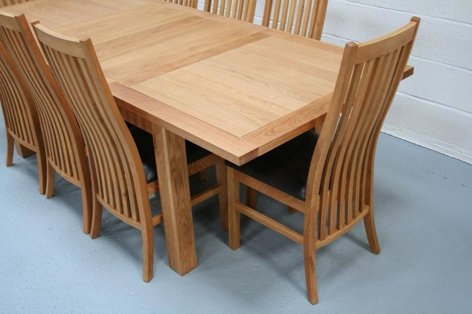 8 Seater Oak Dining Table Set In 2017 Extending Dining Tables Sets (Gallery 16 of 20)