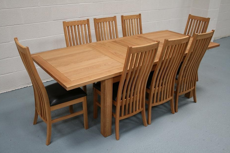 8 Seater Oak Dining Table Set Intended For Best And Newest Extendable Oak Dining Tables And Chairs (Gallery 6 of 20)