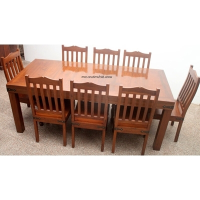 8 Seater Wooden Dining Set In Solid Teak (Gallery 7 of 20)