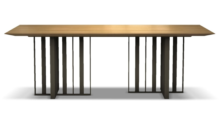 87 Inch Dining Tables In Trendy Saida 87 Inch Wood And Aluminum Dining Table, Natural Oak On Bronze (Gallery 6 of 20)