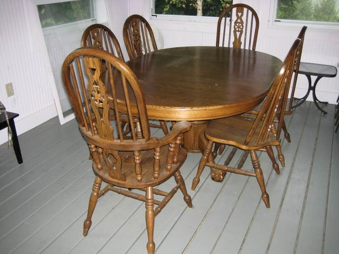 9. Dining Table Used Oak Dining Table Chairs Oak Dining Room Table With Regard To 2017 Second Hand Oak Dining Chairs (Gallery 1 of 20)