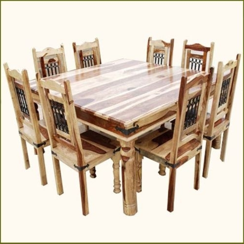 9 Pc Square Dining Table And 8 Chairs Set Rustic Solid Wood Inside Latest Dining Tables 8 Chairs Set (Gallery 13 of 20)